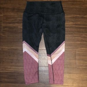 ALO Leggings, Black/Pink/Gray, Small